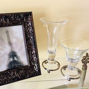 SLAH Set of 2 Astoria Footed Glass Vases Sm/Med
